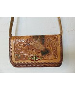 Vintage Leather Hand Tooled Hummingbird and Flowers Shoulder Bag Brown P... - $29.99