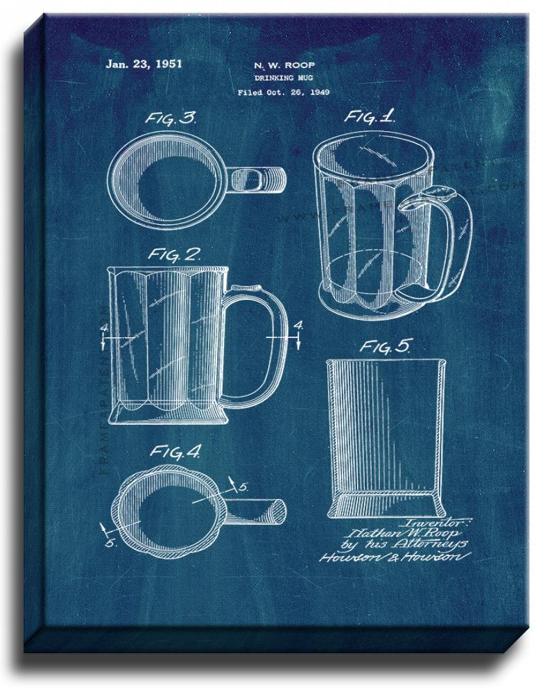 Primary image for Beer Mug Patent Print Midnight Blue on Canvas