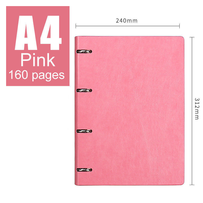 A4 Premium Business Leather Journal Loose Leaf Diary Ruled 160 Pages (Pink)