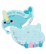 Narwhal Girl - Shaped Fill-in Invitations - Under The Sea Baby Shower or... - $20.21