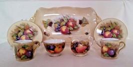 LOT of 7 signed Aynsley Demitasse Orchard Fruit Cup Saucer Sugar Creamer... - $116.86