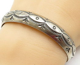 NAVAJO 925 Silver - Vintage Etched Traditional Pattern Cuff Bracelet - B... - $53.27