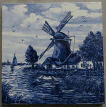 Antique Delft Tile Delft Blauw Windmill Canal Holland - $10.00