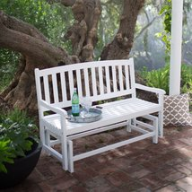 4-Ft Outdoor Patio Glider Chair Loveseat Bench in White Wood Finish - $358.02