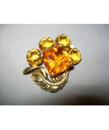 Rare HC Hattie Carnegie Hallmark Sterling Fur Clip Gold Washed w/ Amber ... - $79.99