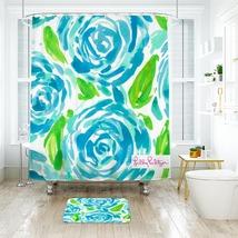 Flower Lilly First Impressio Shower Curtain Waterproof & Bath Mat For Bathroom - $15.30+