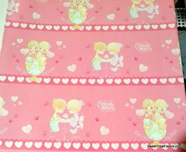 Precious Moments Girl Wrapping Paper Sheet Gift Book Cover Party Wrap x2 Pink NW - $12.82