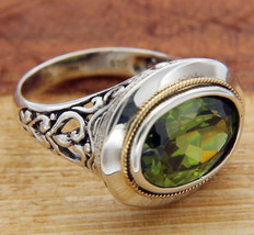Solid Sterling Silver & Gold Accent Peridot Bali Ring Size 6 » R313 - $112.67
