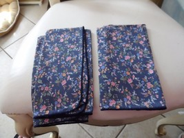 """Set of 4 navy dinner napkins with tiny pin flowers 17"""" x 17"""",  - $7.00"""