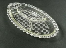 Vtg Hazel Atlas Divided Relish Tray Clear Glass Beaded Jewel Flower Floral - $10.88