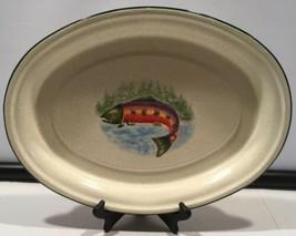 2003 Julie Ueland Enesco Group Tin Oval Beige Green Fish Tray - $59.35