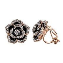 Yoursfs Clip Earrings for Women Black Rose Flower Gold plated CZ Earring... - $17.52