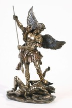 10 Inch Resin Saint Michael Angel Standing Over Devil Figurine - $65.29