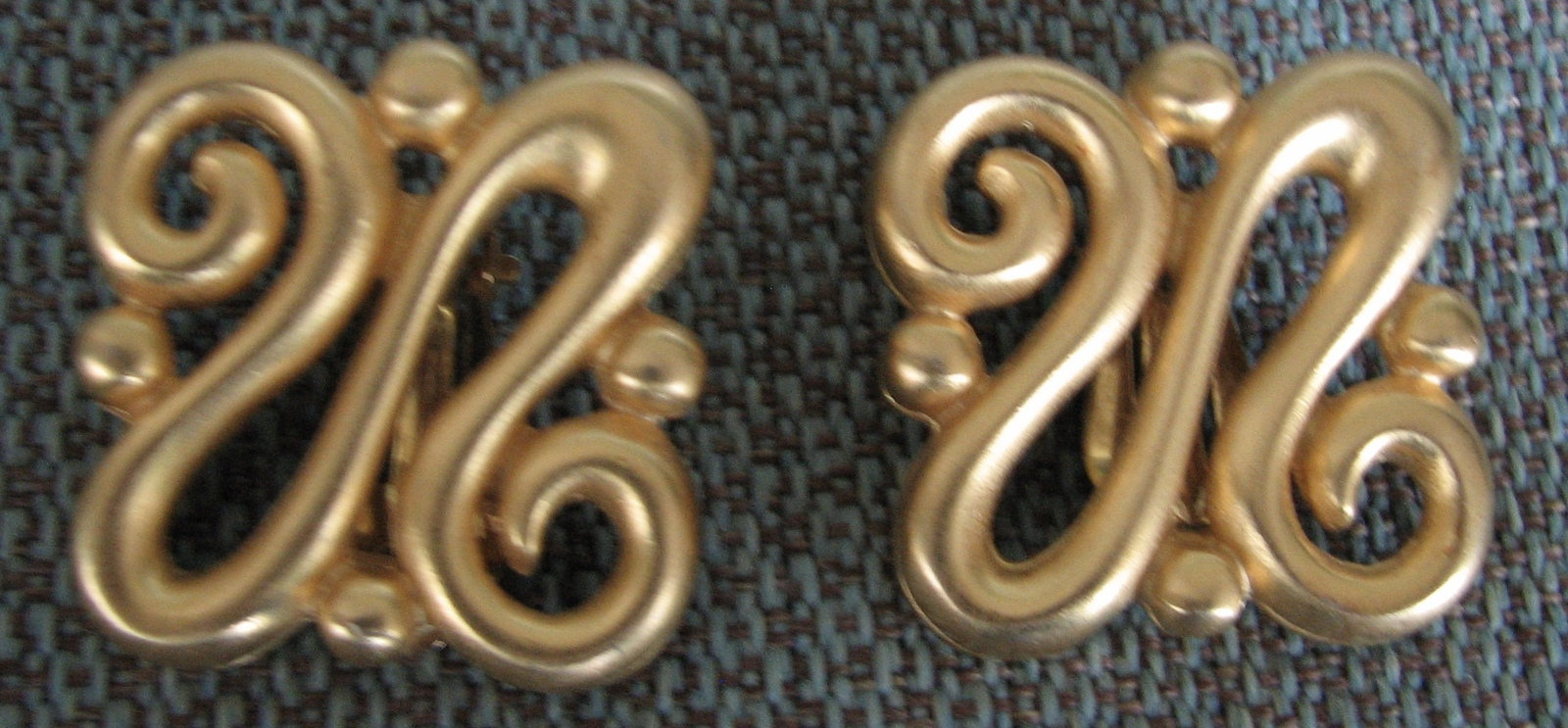 Vintage Givenchy Modernist Earrings Gold Plated Signed 1980s