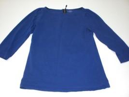 W14043 Womens ANN TAYLOR LOFT Cobalt Blue Cotton 3/4 Sleeve SHIRT XS - $11.65