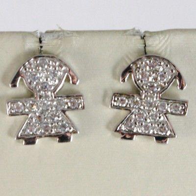 SOLID 925 STERLING SILVER EARRINGS GIRL WITH CUBIC ZIRCONIA ROUND CUT