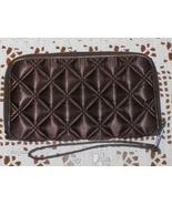 Marc Jacobs Womens Clutch Wallet Quilted Satin Brown Zip Around Wristlet... - $24.99