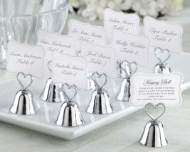 48 Silver Heart Kissing Bell Place Card Photo Holder Bridal Wedding Favor - $92.20