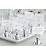 48 Silver Heart Kissing Bell Place Card Photo Holder Bridal Wedding Favor - $121.55 CAD