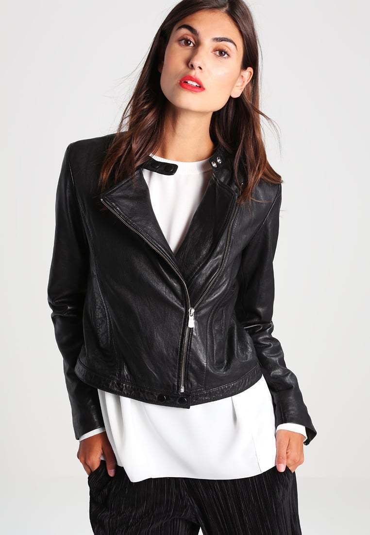 New Women's  Genuine Soft Lambskin Leather Fit Motorcycle  Biker Jacket -58