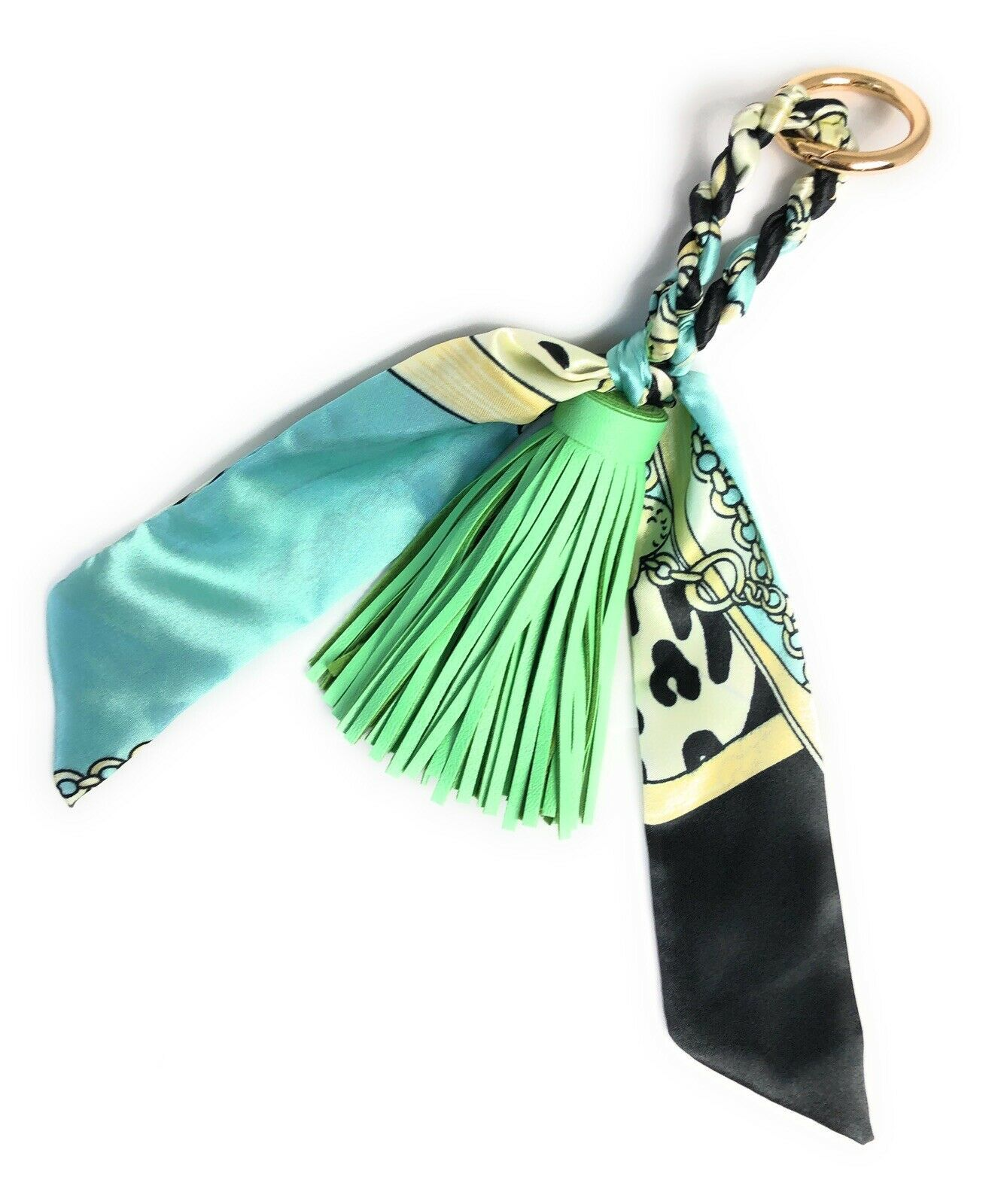 Primary image for Women Tassel and Scarf Handbag Charm Accessory Key Ring US seller
