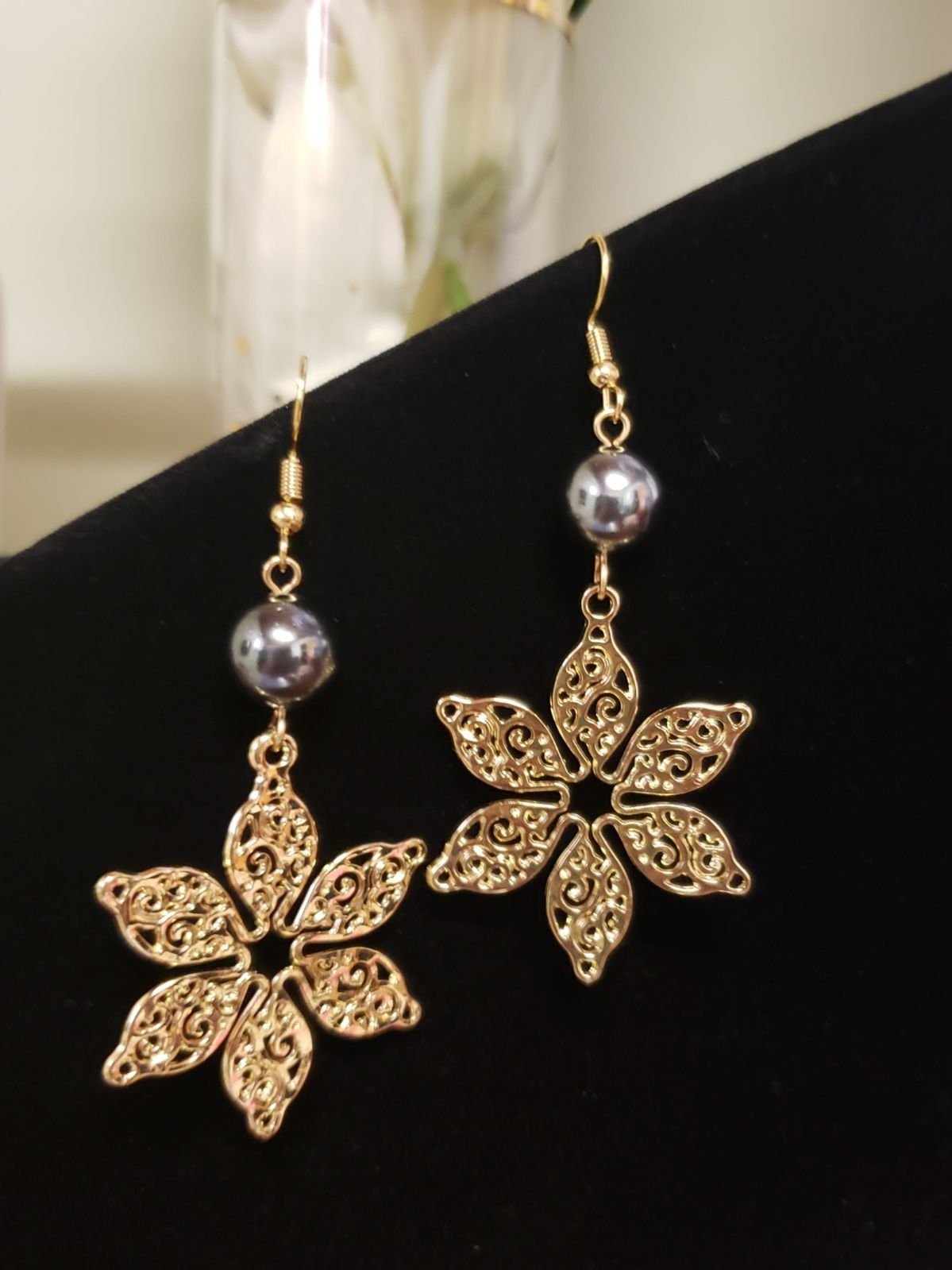 Plumeria Tribal Pearl Filigree earrings