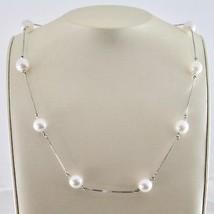 Collier en or Blanc 18 KT avec Perles Blanches Akoya Rondes Diamètre de ... - $896.55