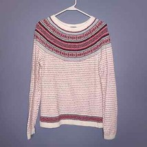 Talbots Women's Nordic Fair Isle Knit Ivory Red Hearts Pullover Sweater ... - $30.00