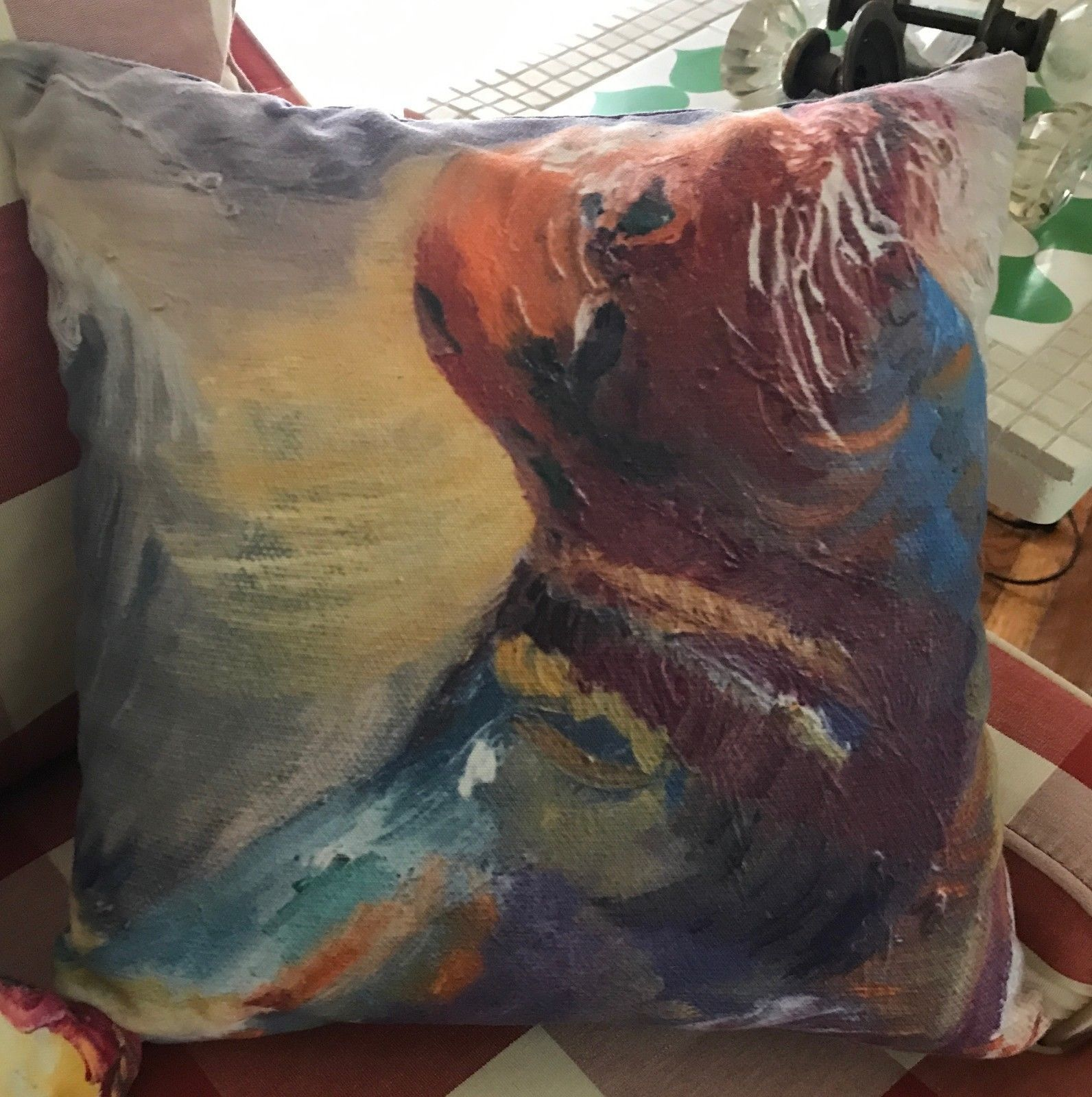 "Seal Sea Lion Throw Pillow 15.5""x15.5"" Art Home Decor Filled Colorful Two Sided"
