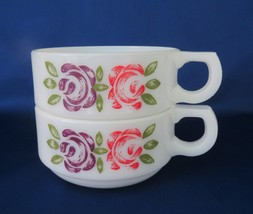 Opal Soup Mugs, Pink & Purple Rose Decorations, TWO - $18.00