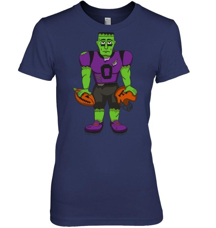 Frankenstein Player Pumpkin Halloween Football Tshirt