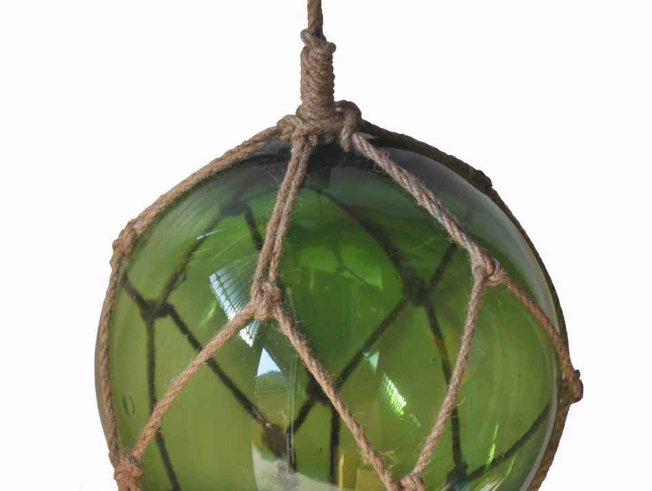 """10"""" Japanese Glass Fishing Floats W/ Brown Net Nautical Decor-Assorted Colors"""