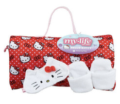 """My Life As 18"""" Doll Hello Kitty Sleeping Bag Set Slippers & Fuzzy Face Mask NWT - $24.74"""