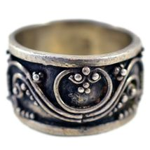 925 Sterling Silver Filigree Design Cabochon Onyx Thick Chunky Band Ring 5.75 image 3