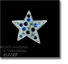 Eisenberg Ice Star Shaped Patriotic Pin Silver Tone (#J1128) - $36.76 CAD