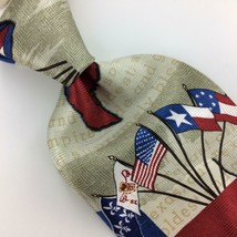 Rm Studio Six Flags State Made In Usa Tie Beige Blue Red Silk Necktie N4-162 New - $49.49