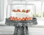 "FIDDLE & FERN 12""D ACRYLIC CAKE DOME/BLACK GALVANIZED BASE"