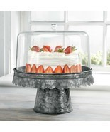 "FIDDLE & FERN 12""D ACRYLIC CAKE DOME/BLACK GALVANIZED BASE - $68.26"