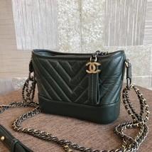 NEW AUTH Chanel 2019 DARK GREEN CHEVRON Calfskin Small Gabrielle Hobo Bag GHW image 4