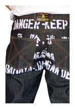 Dissizit! Danger 5-pocket Classic Fit Raw Black/Indigo Denim Jeans NWT image 1