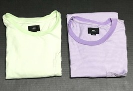 Lot Of 2 Obey Worldwide Striped Pocket T Shirt Lime Green And Purple Sz L - $19.79