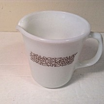 Pyrex Creamer Glass with Brown Flowers Woodland Brown Lovely - $7.06