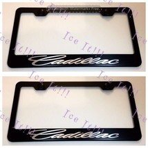 2X Script For Cadillac Stainless Steel Black License Plate Frame Rust Free - $23.75