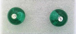 Dark Green Glass Crystal 6mm Stud Earrings - $8.00