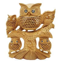 handmade undercut wooden Owl family on tree wood owl home Decor - $257.56