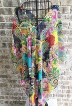 Swimsuit Coverup Sheer Dolman Sleeves Asymmetrical Psychedelic Designs C... - $14.99