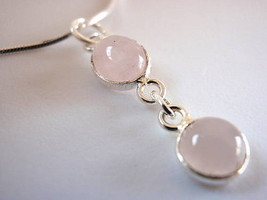 Basic Round & Oval Rose Quartz 925 Silver Pendant New - $12.86
