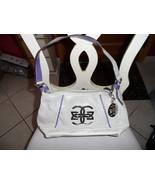 Ladies tan with purple accents handbag by Glenna De Rossi - $10.00
