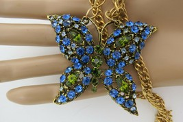 "Butterfly Rhinestone Pendant on Chain Necklace Blue Green Navette 28"" Long Bold - $27.71"