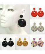 E0007 Retro Bohemian Beads Decorated Double Circle Round Drop Dangle Ear... - $9.99